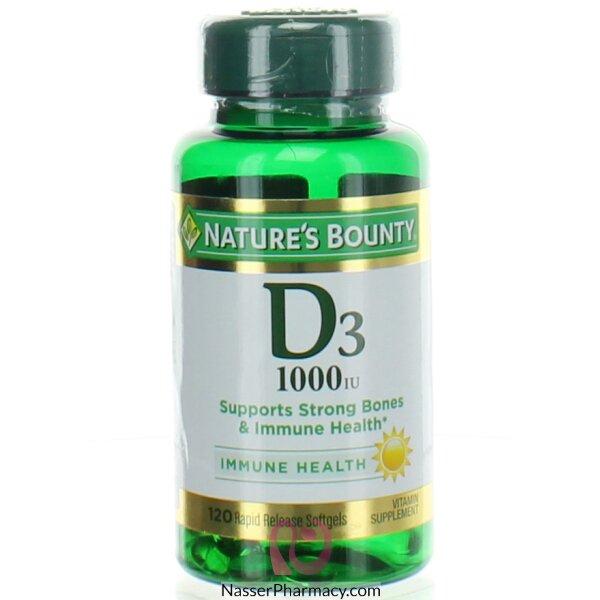 ناتشرز باونتي (nature&#39s Bounty) فيتامين د3 1000 وحدة ,120 كبسولة