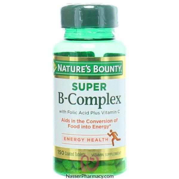 ناتشرز باونتي Nature's Bounty فيتامين سوبر ب المركب  مع حمض الفوليك وفيتامين سي، 150 قرص