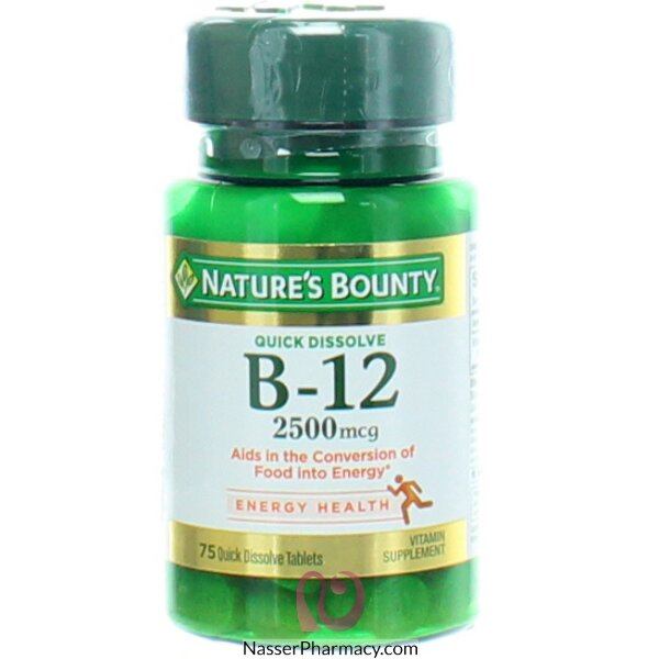 ناتشرز باونتي Nature&#39s Bounty Vitamin فيتامين ب 12، 2500 ميكرو جرام، 75 قرص سريع الذوبان
