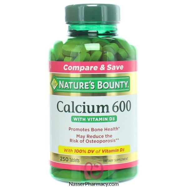 ناتشرز باونتيnature's Bounty كالسيوم 600 مع فيتامين D3 د3, 250 قرص