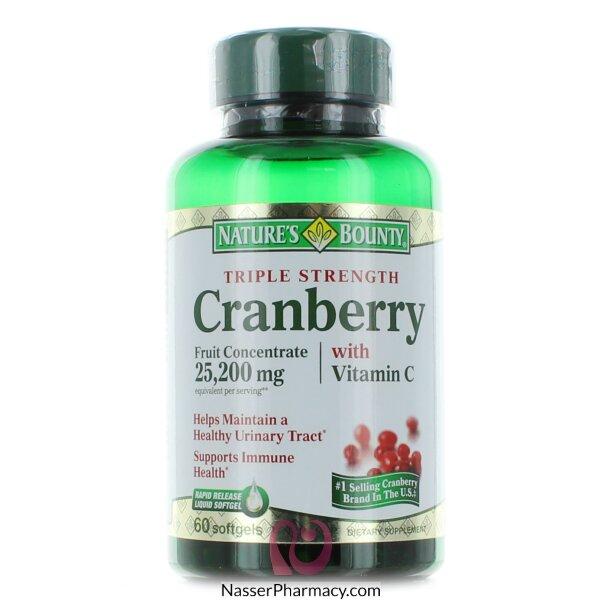 Nature's Bounty Cranberry Plus Vitamin C -60 Softgels