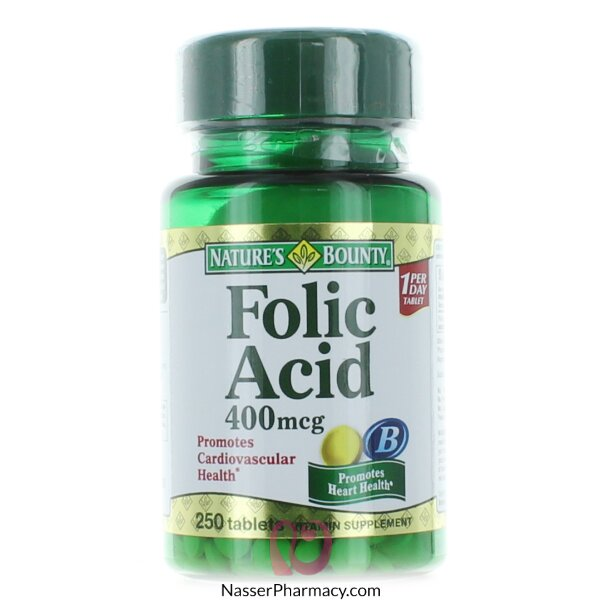 Nature&#39s Bounty Folic Acid 400 Mcg - 250 Tablets