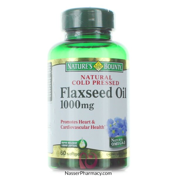 Nature&#39s Bounty Natural Cold Pressed Flaxseed Oil 1000mg - 60 Softgels