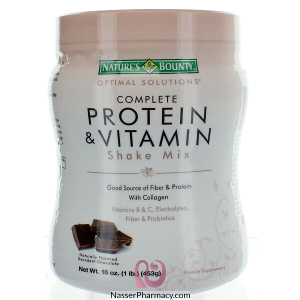 Nature's Bounty Complete Protein & Vitamin Shake Mix  With Chocolate 16 Oz