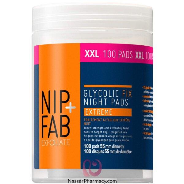 نيب + فاب Nip + Fab حشوات Fix Night Pads Extreme Xxl لتنظيف وتقشير البشرة،100 قطعة