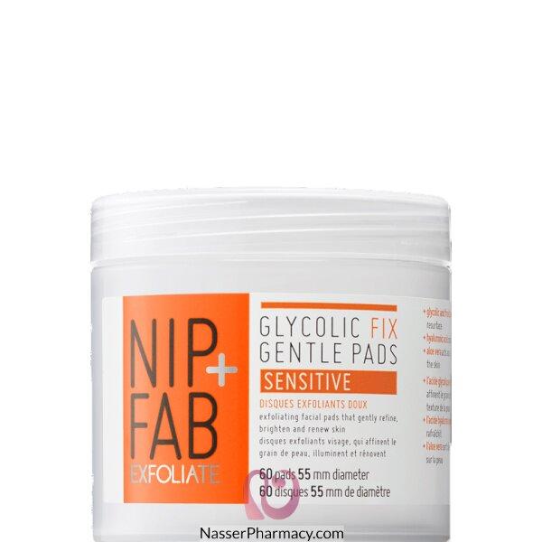 نيب + فاب Nip + Fab  حشوات Glycolic Fix Gentle Pads للبشرة الحساسة، 60 قطعة