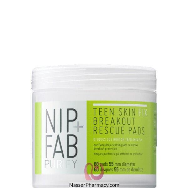 نيب + فاب Nip + Fab حشوات Teen Skin Fix Breakout Rescue Pads لانقاذ وتنظيف بشرة المراهقين بعمق، 60 قطعة