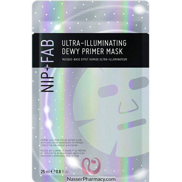 نيب + فاب Nip + Fab  قناع للوجه Ultra-illuminating Dewy Primer Sheet Mask لانارة فائقة، 25 ملل