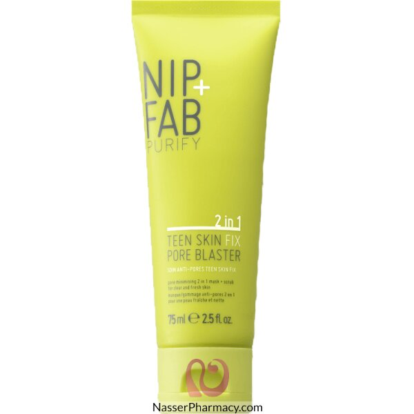 نيب + فاب Nip + Fab قناع ومقشر 2*1 Pore Blaster  لتنقية مسام بشرة المراهقين، 75 ملل