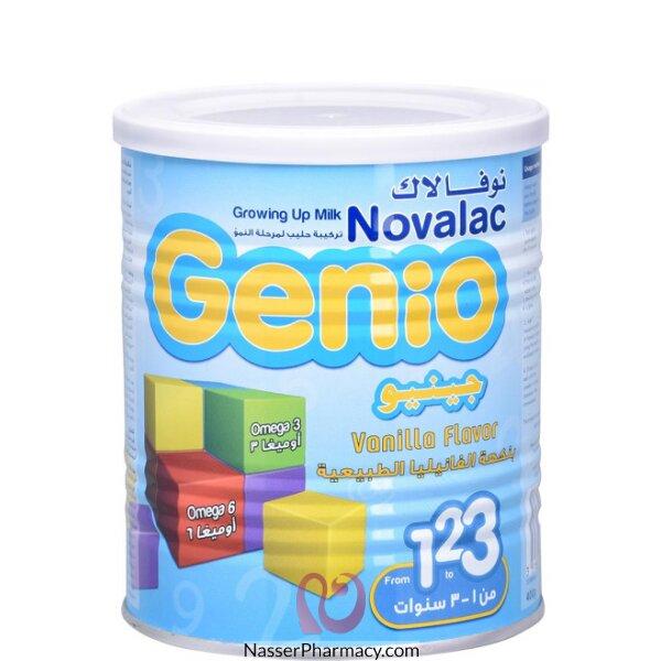 نوفلاك جينيوnovalac  3 حليب لمرحلة النمو بنكهة الفانيليا من 1 إلى 3 سنوات  400 جرام