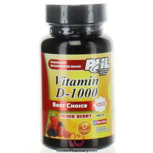 بى اتش ال  Phl فيتامين دى 1000 مجم 100 قرص بطعم التوت