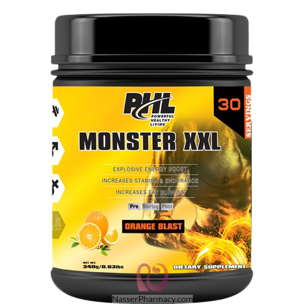 Phl Pre Workout (moster Xxl) Powder  Orange 30 Serving