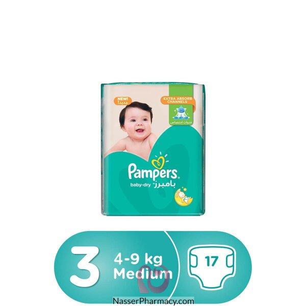Pampers Baby-dry Diapers, Size 3, Midi, 5-9kg, Carry Pack, 17 Count