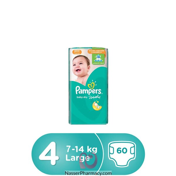 Pampers Baby-dry Diapers, Size 4, Maxi, 8-14 Kg, Jumbo Pack, 60 Count