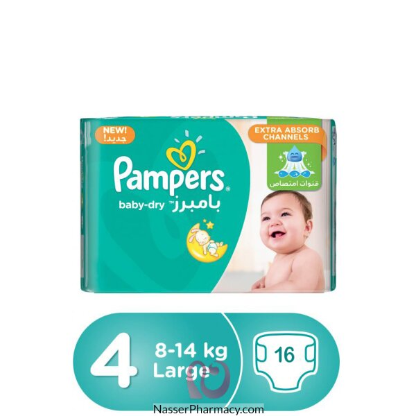 Pampers Baby-dry Diapers, Size 4, Maxi, 8-14 Kg,carry Pack, 16 Count