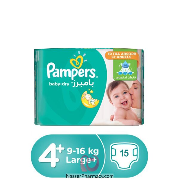 Pampers Baby-dry Diapers, Size 4+, Maxi Plus, 9-16 Kg, Carry Pack, 15 Count