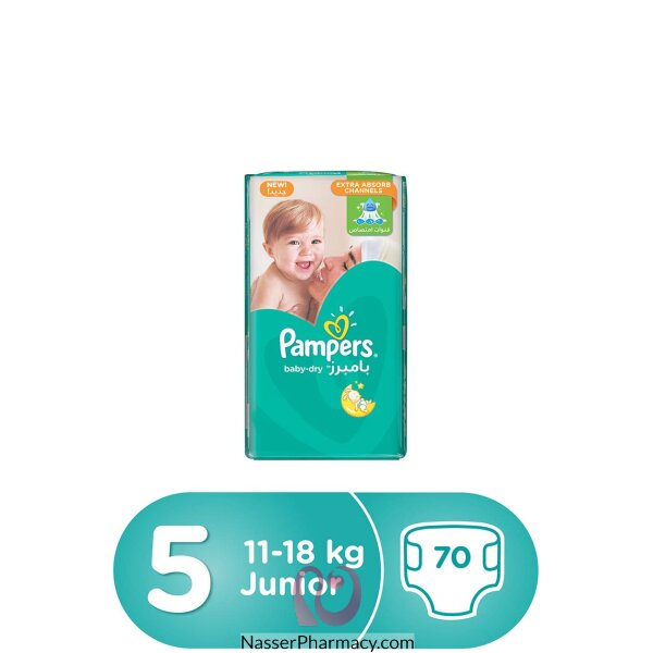 Pampers Baby-dry Diapers, Size 5, Junior, 11-18 Kg, Mega Pack, 70 Count