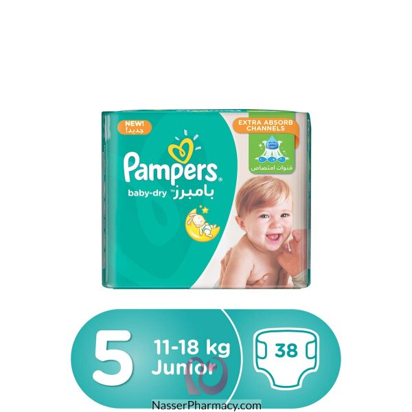 Pampers Baby-dry Diapers, Size 5, Junior, 11-18 Kg, Value Pack, 38 Count