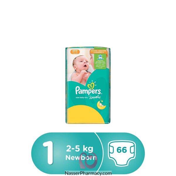 Pampers New Baby-dry Diapers, Size 1, Newborn, 2-5kg, Value Pack, 66 Count