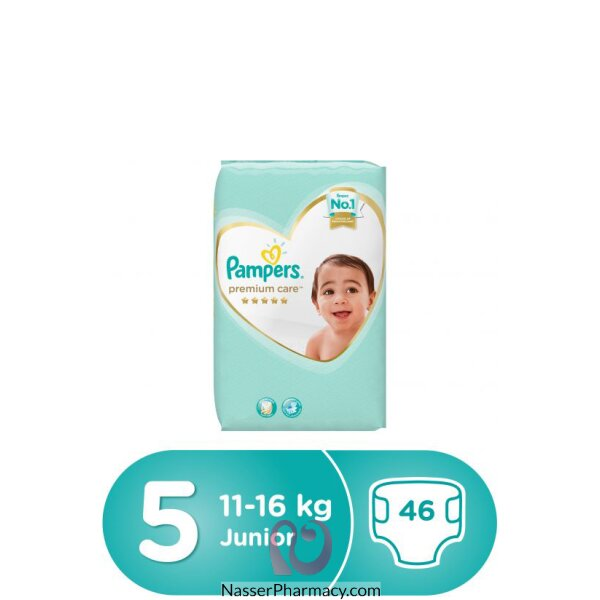 Pampers Premium Care Diapers, Size 5, Junior, 11-18 Kg, Value Pack, 46 Count