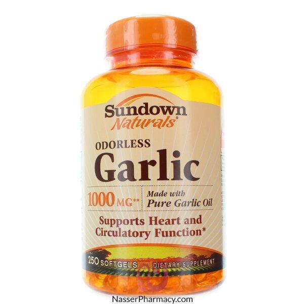 صن داون ناتشورالز خلاصة ثوم بدون رائحة مكمل غذائي لصحة القلب 1000مجم - 250 كبسولة