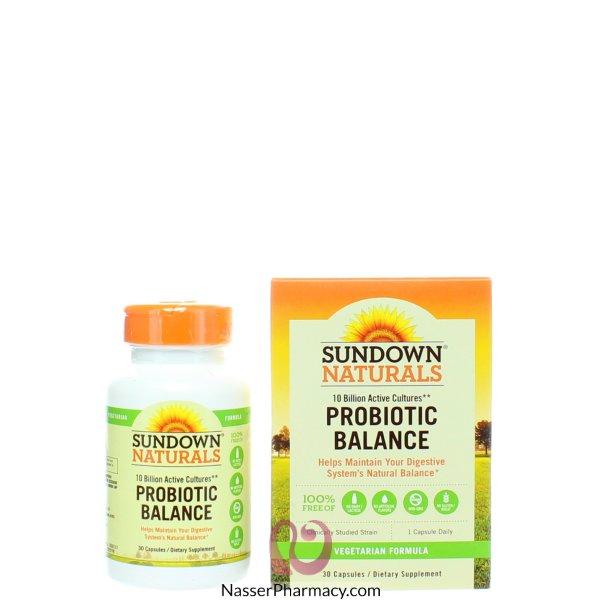 صن داون ناتشورالز  Sundown Naturals, توازن البروبيوتيك، 30 كبسولة
