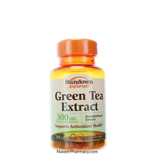 صن داون ناتشورالز Sundown Naturals- خلاصة الشاي الأخضر، 50كبسولة