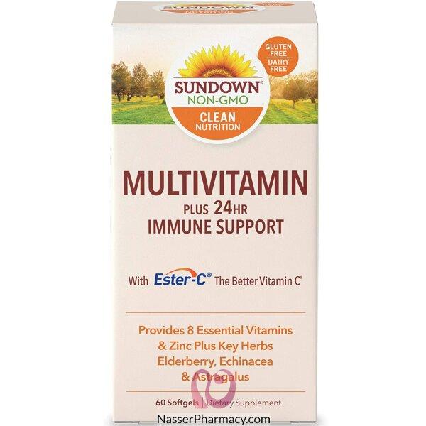 صن داون ناتشورالز Sundown Naturals, دعم مناعي متعدد + يومي، 60 كبسولة جيلاتينية مرنة