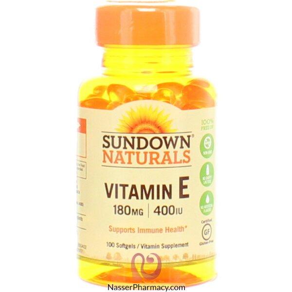 صن داون ناتشورالز Sundown Naturals, فيتامين اي 180ملغ (400 وحدة دولية) ، 100 كبسولة هلامية