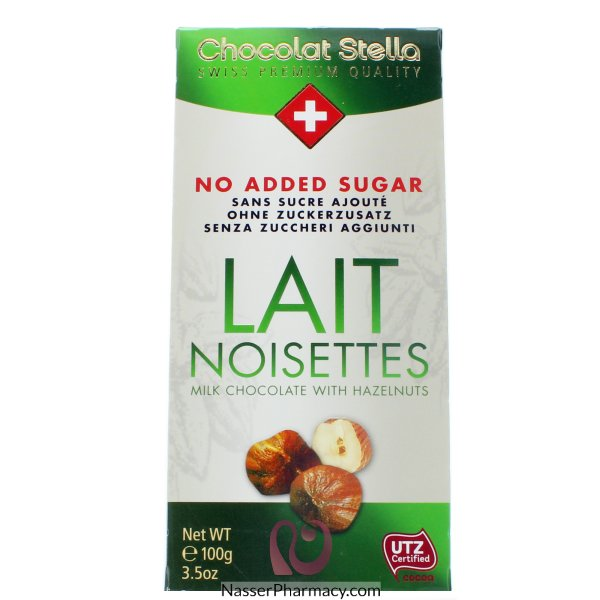 شوكولاتة ستيلا شوكولاتة بالحليب و البندق بدون اضافة سكر - 100جم
