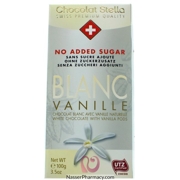 شوكولاتة ستيلا شوكولاتة بيضاء بالفانيليا بدون اضافة سكر - 100جم
