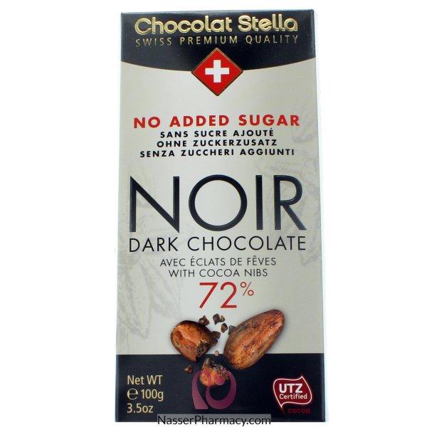 شوكولاتة ستيلا شوكولاتة داكنة 72% حبوب كاكاو محمص بدون اضافة سكر  - 100جم