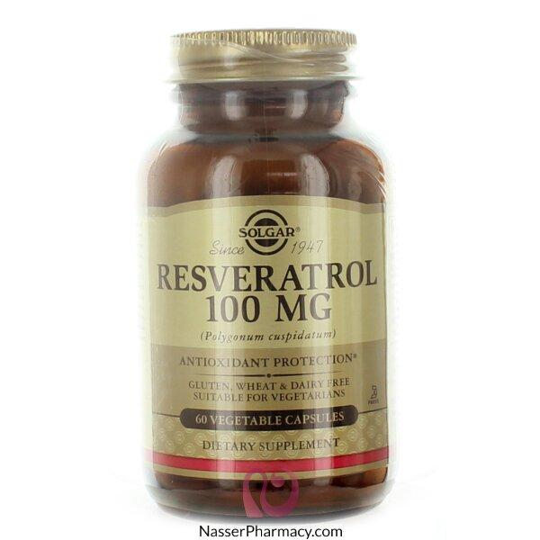 سولجار مستحضر ريسفيراتول، Solgar  ( Resveratrol) مكمل غذائي مضاد للأكسدة - 60 كبسولة نباتية