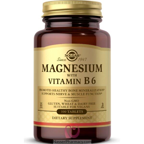 سولجار مكمل غذائي ماغنيسيوم مع فيتامين B 6 - 100 قرص