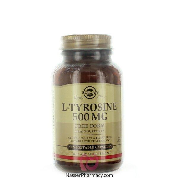 سولجار (l-tyrosine) مكمل غذائي 500 مجم - 50 كبسولة نباتية