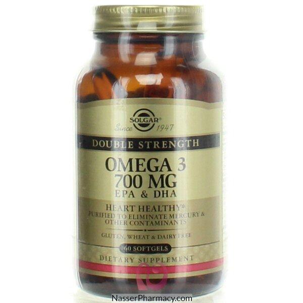 سولجار Solgar- أوميغا 3 بالقوة المزدوجة Epa&dha- بجرعة 700 ملغ- 60 سوفتجل
