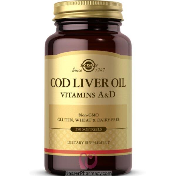 سولجار Solgar  زيت كبد الحوت فيتامين أ & د - 250 كبسولة جيلاتينية