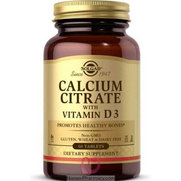 سولجار Solgar, سترات الكالسيوم مع فيتامين د3, 60 قرص