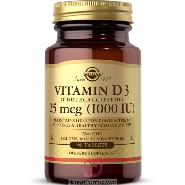 سولجار Solgar- فيتامين د3 (كالسيفيرول) 1000 وحدة دولية -90 كبسولة جيلاتينية