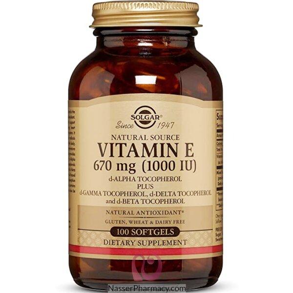 سولجار Solgar, فيتامين E طبيعي، 1000 وحدة دولية، 100 كبسولة هلامية