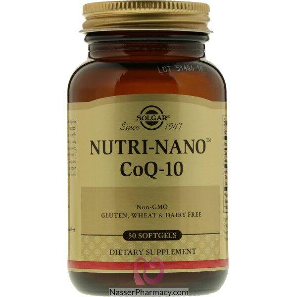 سولجار  Solgar  (nutri-nano) - كو انزيم كيو 10 مكمل غذائي - 50 كبسولة جيلاتينية