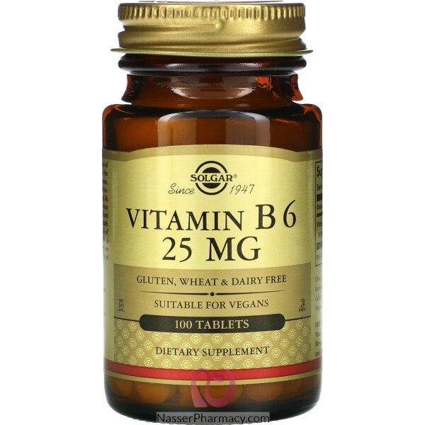 سولجارsolgar  فيتامين ب6 تركيز 25مجم - 100 قرص