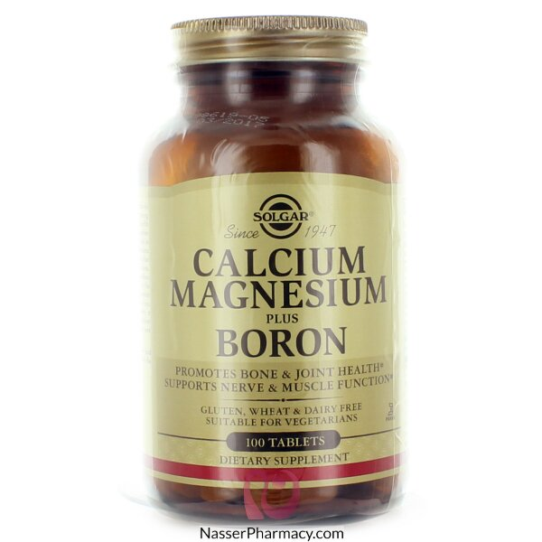 سولجارsolgar  كالسيوم ماغنيسيوم مع اضافة البورون لصحة العظام و المفاصل و الأعصاب - 100 قرص