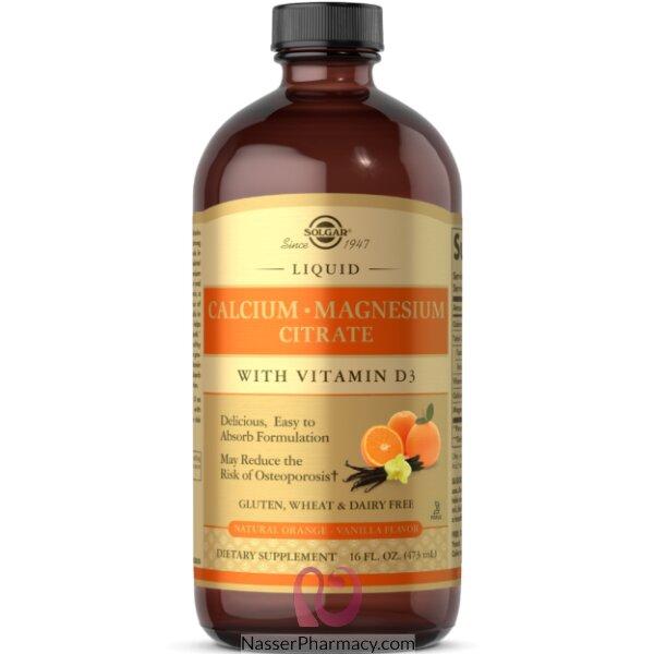 Solgar, Calcium Magnesium Citrate, With Vitamin D3, Liquid, Natural Orange Vanilla Flavor, 16 Fl Oz (473 Ml)