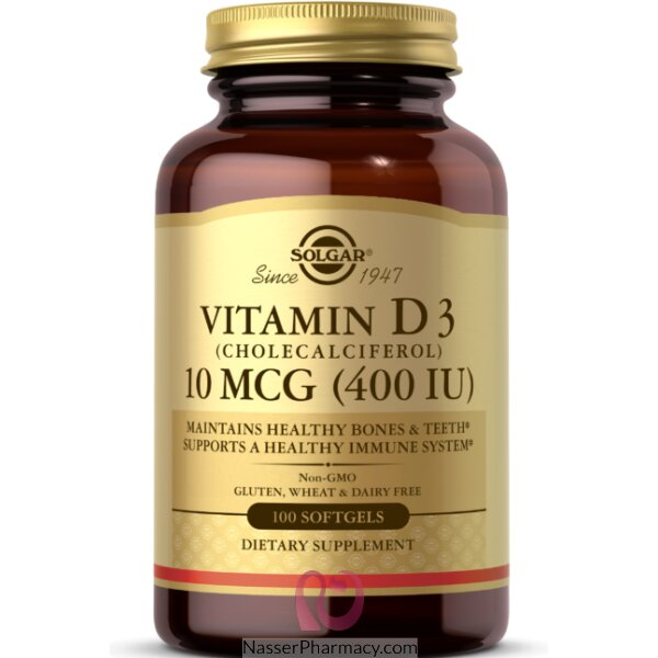 Solgar Vitamin D3 400 Iu - 100 Softgels