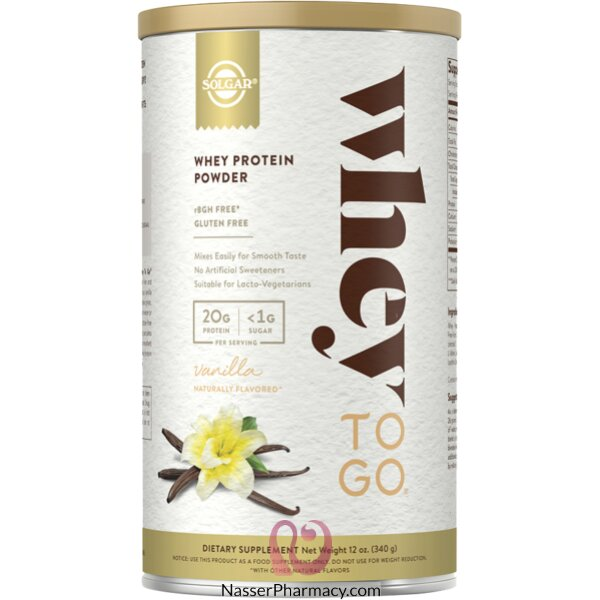 Solgar Whey To Go Whey Protein Natural Vanilla Flavor - 340 G Powder