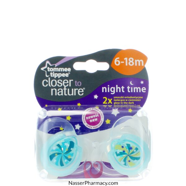 Tommee Tippee Closure To Nature Night Soother 6-18m - 2 Pcs