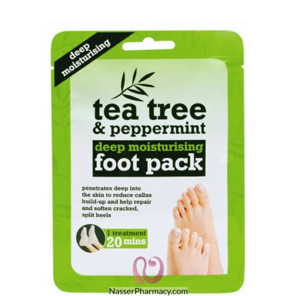 جوارب العناية بالقدمين Tea Tree Foot بخلاصة زيت الشاي والنعناع - 1 عبوة
