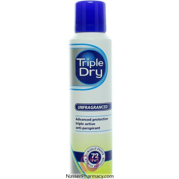 تريبل دراي Triple Dry- مضاد تعرق غير معطر بخاخ 150مل