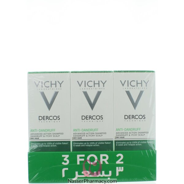 فيشي Vichy    عرض شامبو ضد تساقط الشعر  للشعر الجاف 3 بسعر 1
